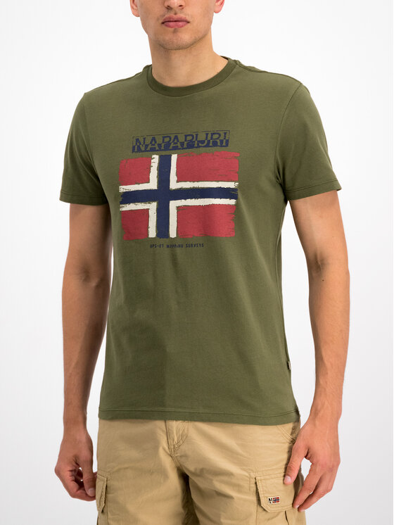 Napapijri Napapijri T-shirt Sadrin N0YHX5 Verde Regular Fit