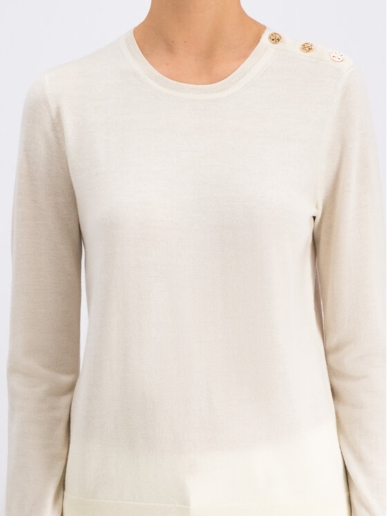 Tory Burch Tory Burch Sweter Logo-Button 55292 Biały Slim Fit