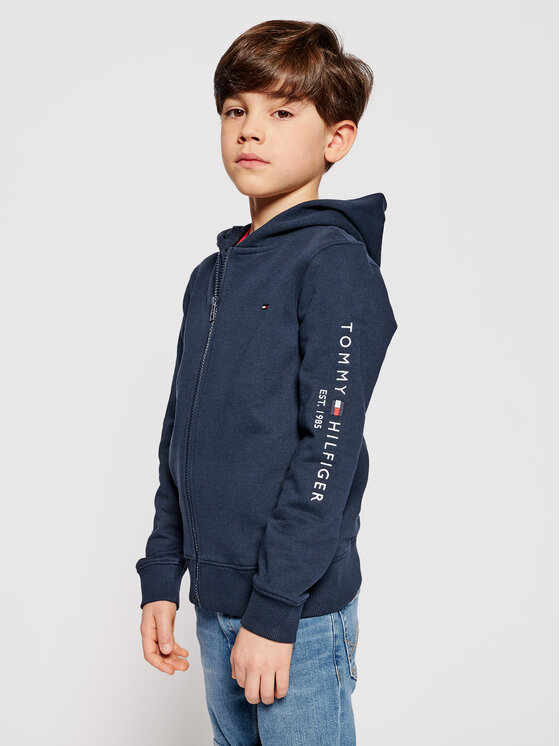 Tommy Hilfiger Tommy Hilfiger Bluza Essential Hooded Zip Through KB0KB06341 D Granatowy Regular Fit