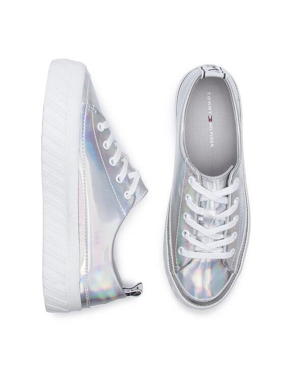 Tommy Hilfiger Tommy Hilfiger Sneakersy Iridescent Flatform Sneaker FW0FW04142 Srebrny