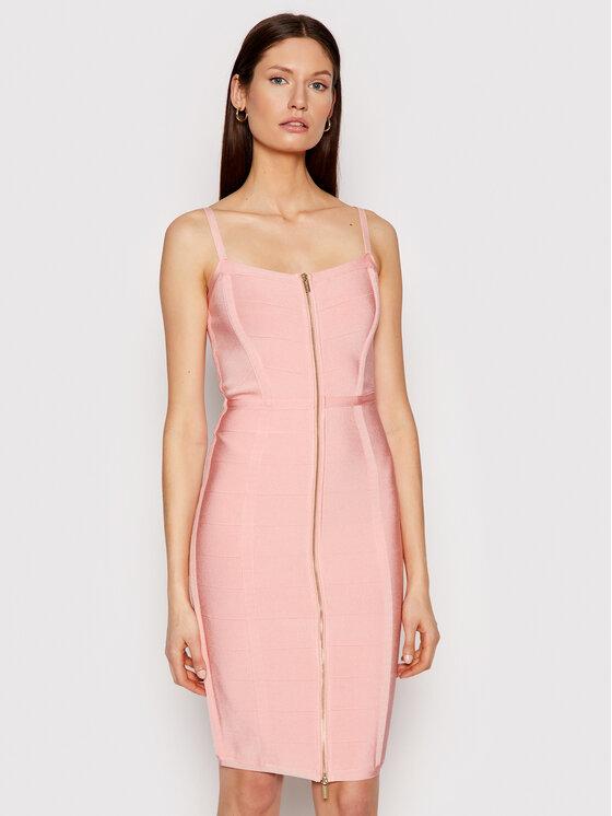 Marciano Guess Kokteilinė suknelė Front Zip 1GG756 5608Z Rožinė Slim Fit
