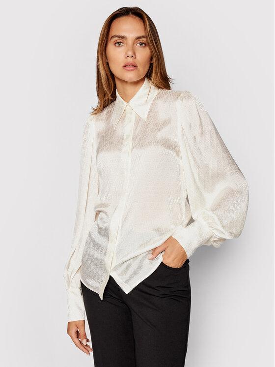 Victoria Victoria Beckham Marškiniai Logo Jacquard 2321WSH002776A Smėlio Regular Fit