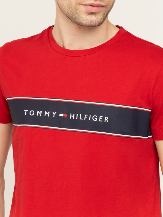 Tommy Hilfiger Tommy Hilfiger T-shirt Logo Chest Stripe Tee MW0MW12512 Rosso Regular Fit