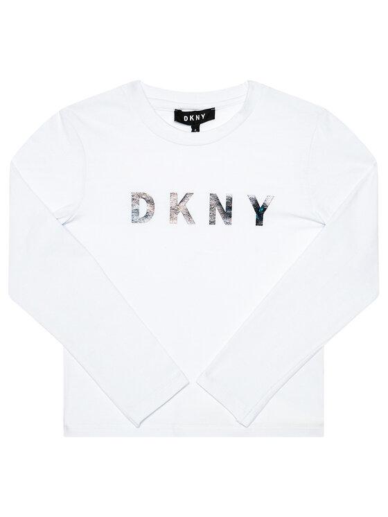 DKNY DKNY Bluzka D35Q78 S Biały Regular Fit