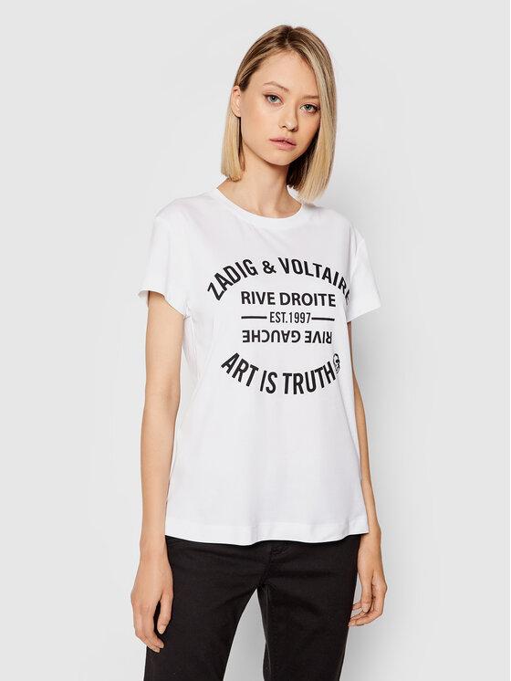 Zadig&Voltaire Marškinėliai Walk Perm PWGTR1802F Balta Regular Fit