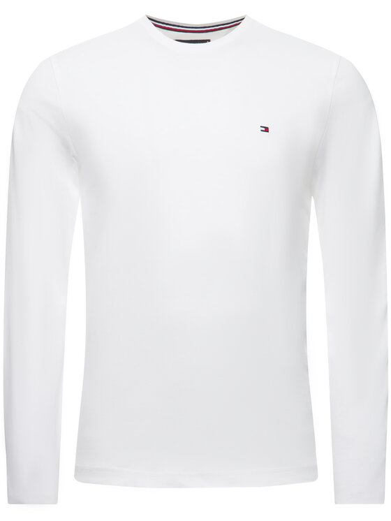Tommy Hilfiger Tommy Hilfiger Marškinėliai ilgomis rankovėmis Logo MW0MW12514 Balta Regular Fit