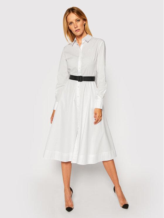 KARL LAGERFELD Sukienka koszulowa Poplin 206W1300 Biały Regular Fit