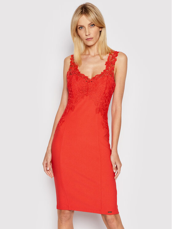 Marciano Guess Kokteilinė suknelė 1GG745 6058A Raudona Slim Fit