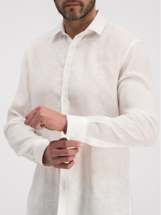 Trussardi Trussardi Cămașă Shirt Close Fit Miami Collar Yard Dyed Lin 52C00075 Alb Regular Fit