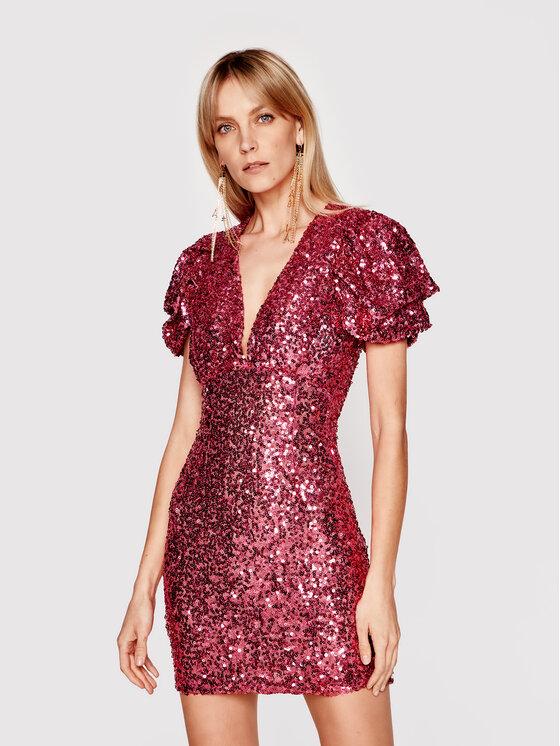 Babylon Kokteilinė suknelė N_S00996 Rožinė Slim Fit