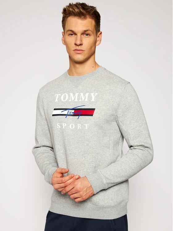 Tommy Sport Džemperis Graphic Fleece Crew S20S200585 Pilka Regular Fit