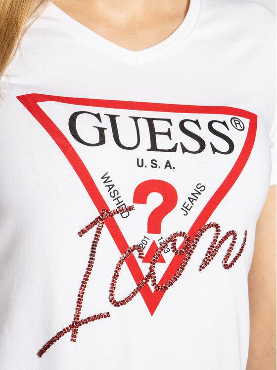 Guess Guess T-shirt W94I89 K7DE0 Bianco Slim Fit