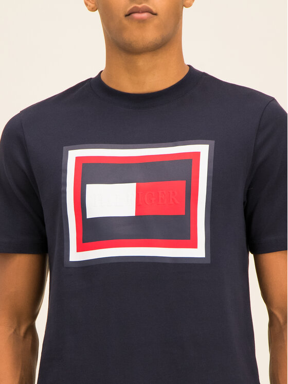 Tommy Hilfiger Tommy Hilfiger Tricou Frame MW0MW12523 Bleumarin Relaxed Fit