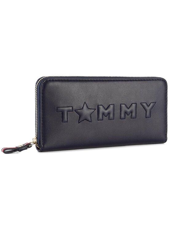 Tommy Hilfiger Tommy Hilfiger Duży Portfel Damski Logo Story Lrg Z/A Wallet AW0AW04285 Granatowy