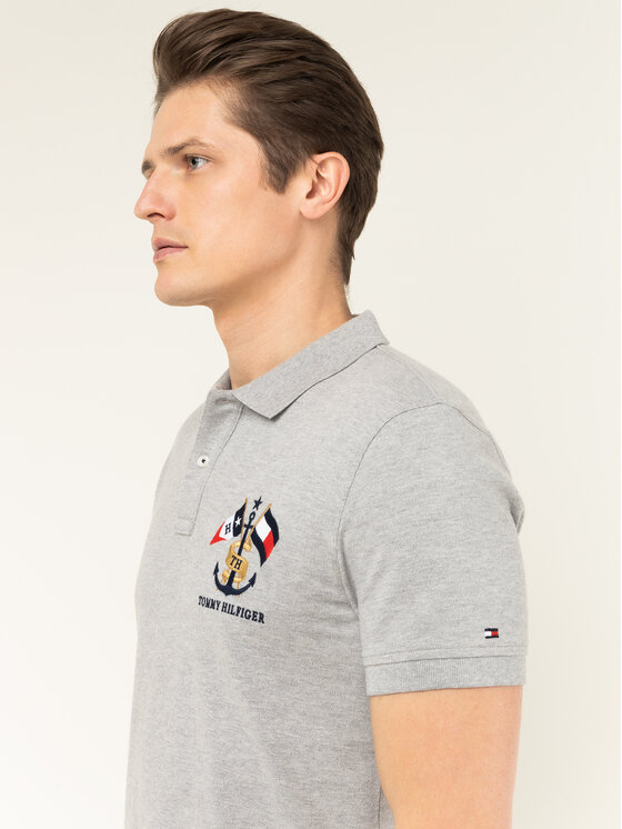 Tommy Hilfiger Tommy Hilfiger Polo Crest Embroidery MW0MW12402 Szary Regular Fit