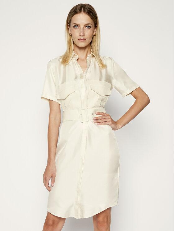 Victoria Victoria Beckham Sukienka koszulowa Chinese 2220WDR001020A Biały Slim Fit