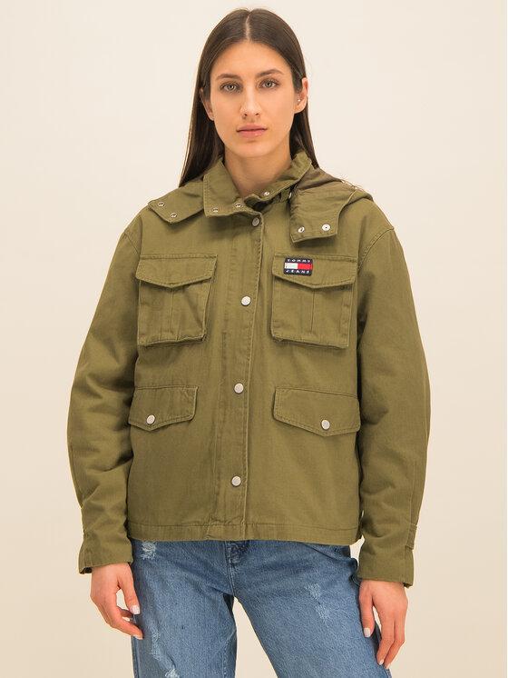 Tommy Jeans Tommy Jeans Átmeneti kabát Pleat Detail DW0DW07099 Zöld Regular Fit