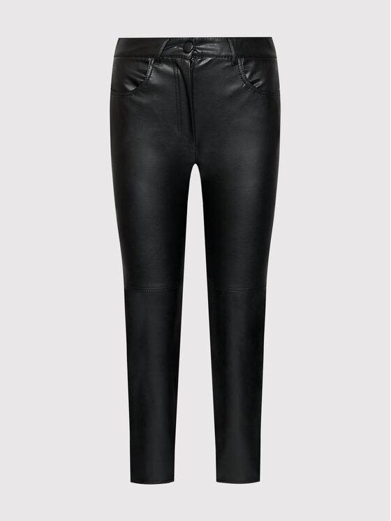 Marella Marella Панталони от имитация на кожа Valdena 37860218 Черен Regular Fit