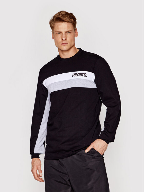 PROSTO. Marškinėliai ilgomis rankovėmis KLASYK Yama 2061 Juoda Regular Fit