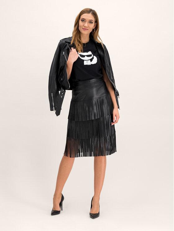 KARL LAGERFELD KARL LAGERFELD Kožená sukně 96KW1209 Černá Regular Fit