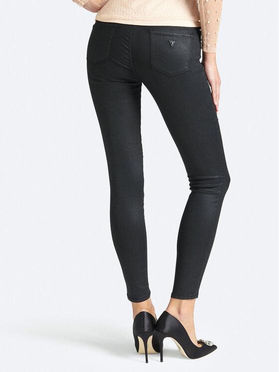 Guess Guess Кожени панталони Jegging Mid W93A03 D3OZ0 Черен Slim Fit