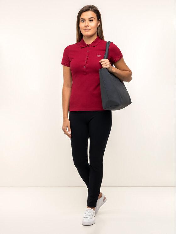 Lacoste Lacoste Тениска с яка и копчета PF7845 Бордо Slim Fit
