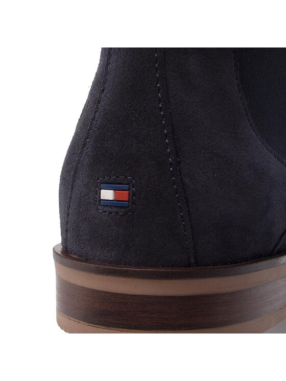 TOMMY HILFIGER TOMMY HILFIGER Štibletai Dress Casual Suede Chelsea FM0FM02212 Tamsiai mėlyna