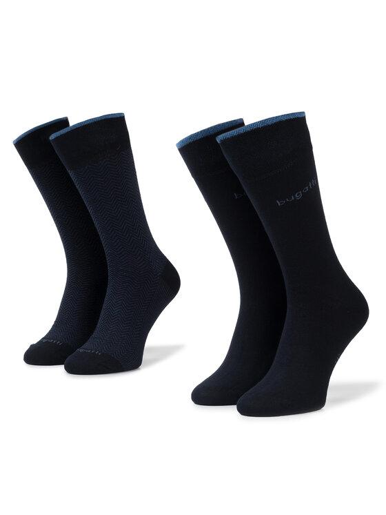 Bugatti Bugatti Vyriškų ilgų kojinių komplektas (2 poros) 6902 Tamsiai mėlyna