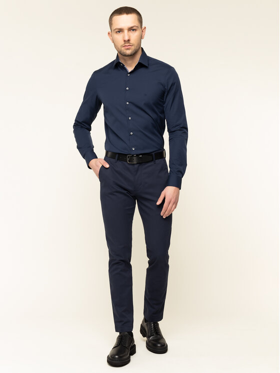 Calvin Klein Calvin Klein Košeľa Contrast Easy Iron K10K105038 Tmavomodrá Slim Fit