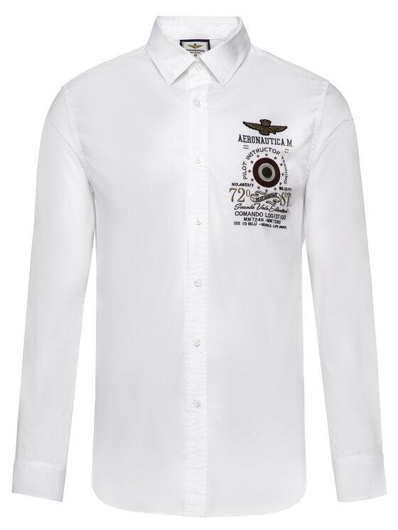 Aeronautica Militare Aeronautica Militare Marškiniai 192CA1126CT2578 Balta Regular Fit
