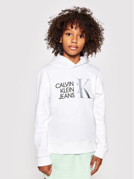 Calvin Klein Jeans Bluza Hybrid Logo IG0IG00873 Biały Regular Fit
