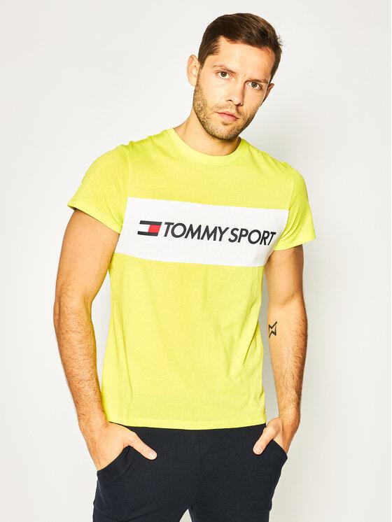 Tommy Sport Marškinėliai Colourblock Logo S20S200375 Geltona Regular Fit