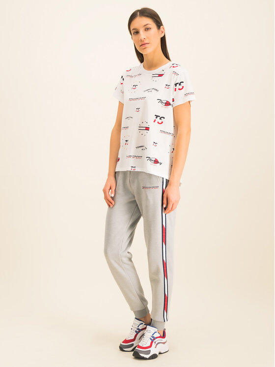 Tommy Sport Tommy Sport Marškinėliai Graphic Tee Blend S10S100412 Balta Relaxed Fit