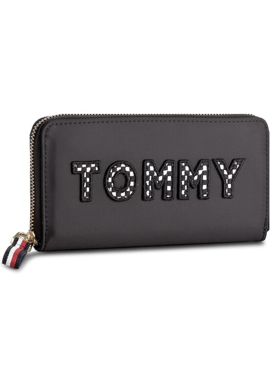 Tommy Hilfiger Tommy Hilfiger Duży Portfel Damski Poppy Lrg Za Wallet Tommy Print AW0AW05320 Czarny