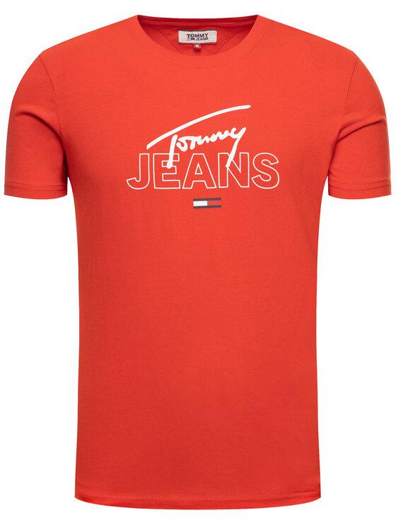 Tommy Jeans Tommy Jeans Tricou Script DM0DM07011 Roșu Regular Fit