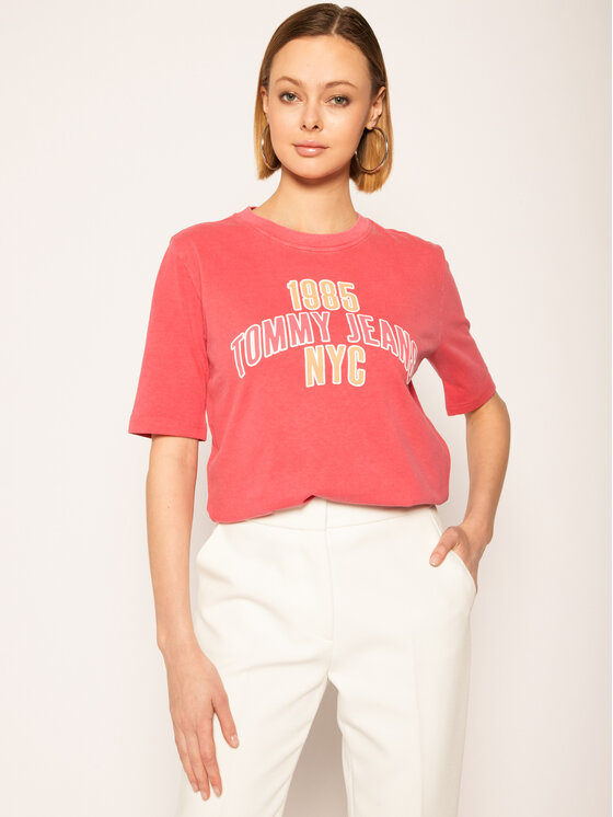 Tommy Jeans Tommy Jeans T-Shirt Tjw College Logo Tee DW0DW08043 Rosa Regular Fit