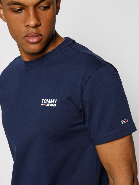 Tommy Jeans Tommy Jeans T-Shirt Corp Logo DM0DM07194 Granatowy Regular Fit