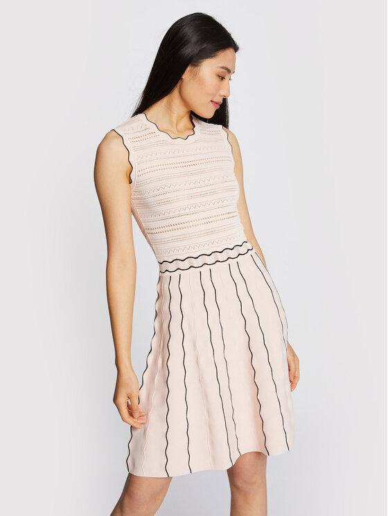 Morgan Morgan Sukienka dzianinowa 211-RMOON Różowy Slim Fit