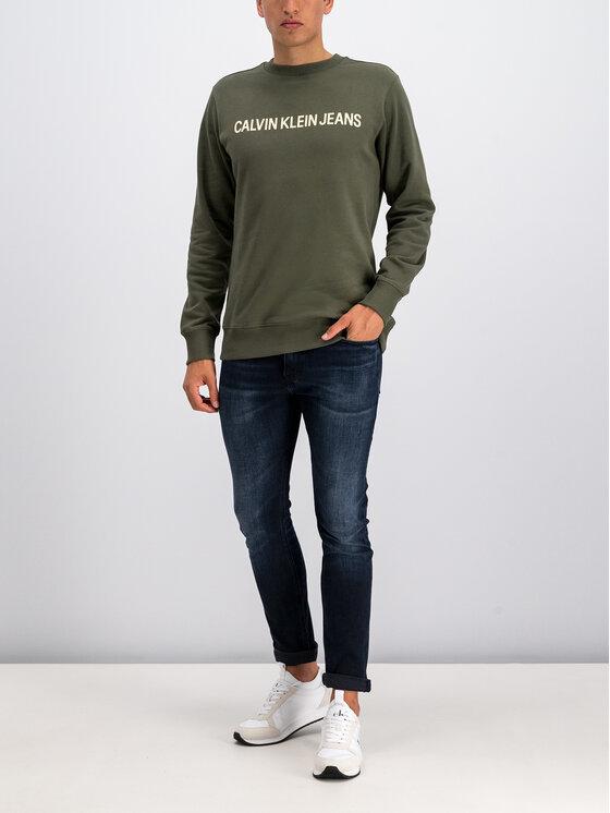 Calvin Klein Jeans Calvin Klein Jeans Pulóver Institutional Logo J30J307758 Zöld Regular Fit