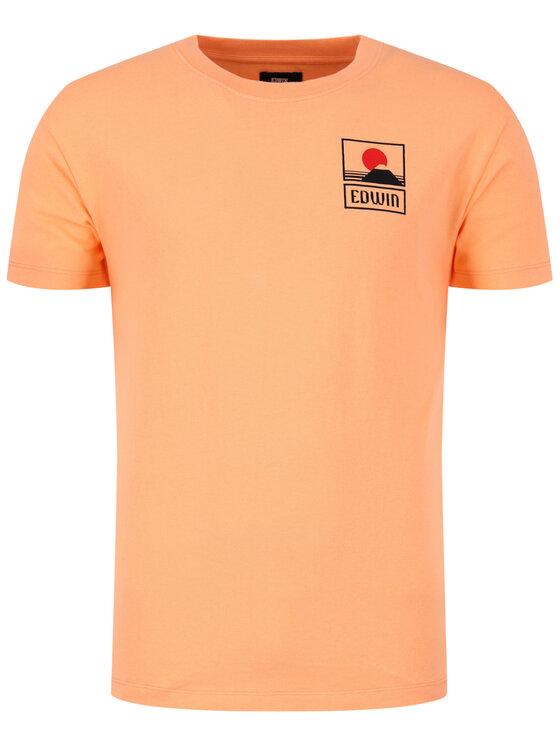 Edwin Edwin T-Shirt Sunset On Mt Fuji Ts I025881 TG372M4 CTP67 Πορτοκαλί Regular Fit