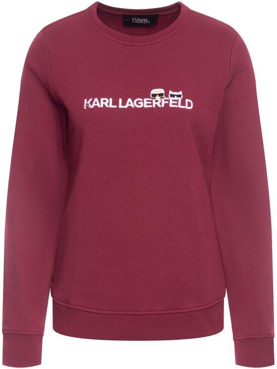 KARL LAGERFELD KARL LAGERFELD Bluză Ikonik & Logo 96KW1824 Vișiniu Regular Fit