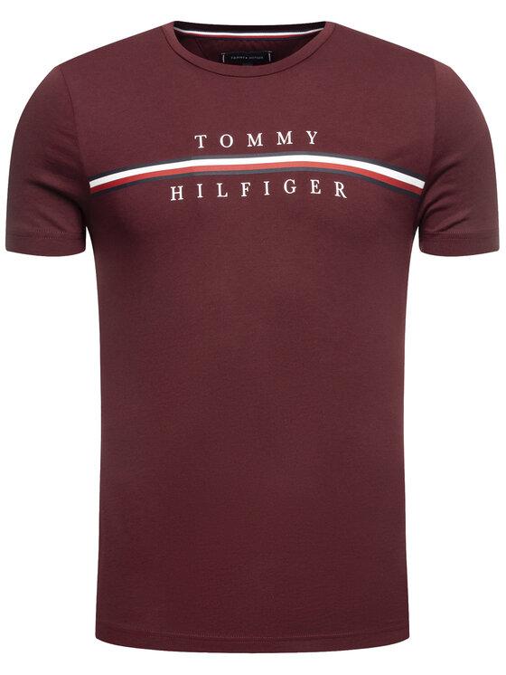 Tommy Hilfiger Tommy Hilfiger T-Shirt Corp Split MW0MW12520 Μπορντό Regular Fit