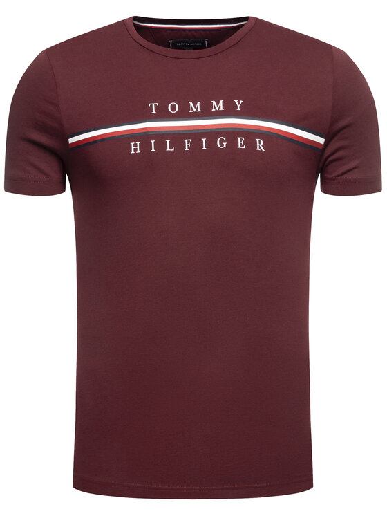 Tommy Hilfiger Tommy Hilfiger Tričko Corp Split MW0MW12520 Bordová Regular Fit
