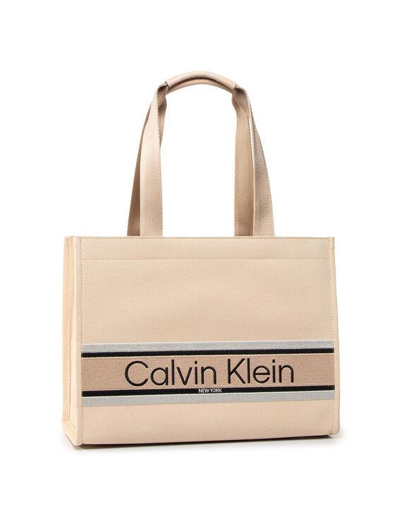 Calvin Klein Calvin Klein Torebka Stripe Logo Tote Md K60K606299 Beżowy