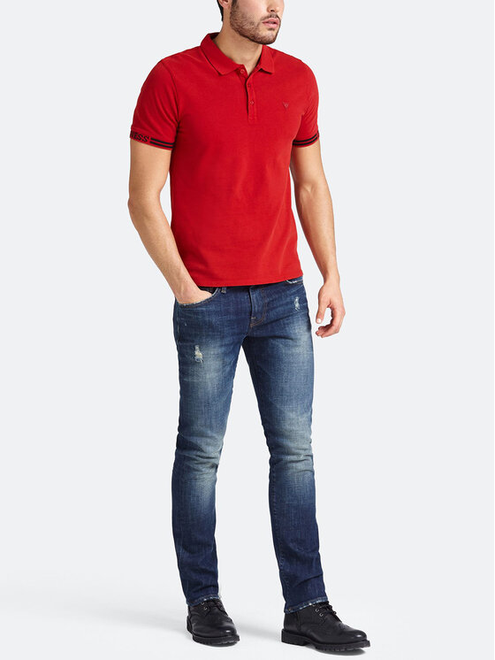 Guess Guess Polohemd M93P40 K8510 Rot Slim Fit