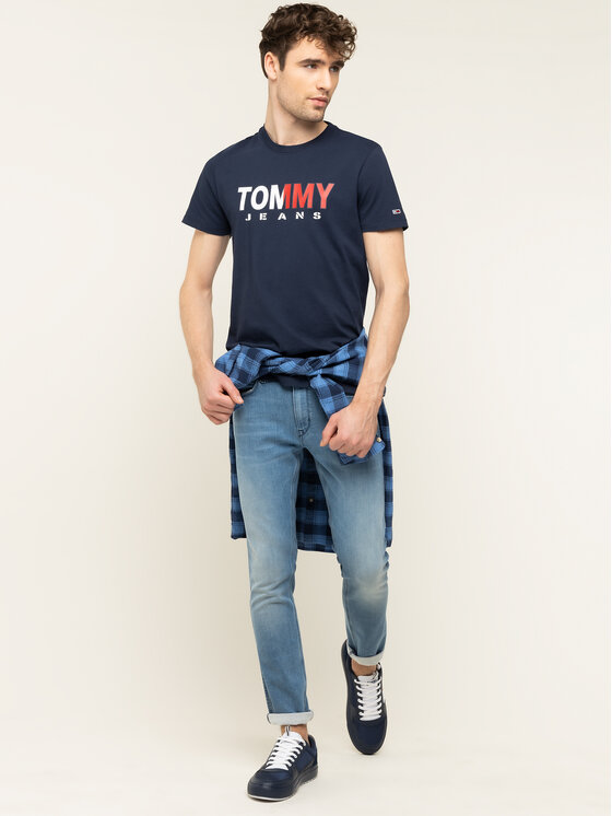 Tommy Jeans Tommy Jeans Тишърт Tommy Colored DM0DM07440 Тъмносин Regular Fit