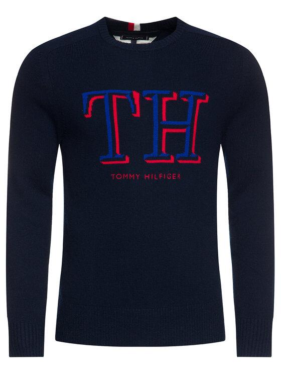 TOMMY HILFIGER TOMMY HILFIGER Sveter TH Monogram Graphic MW0MW11689 Tmavomodrá Regular Fit