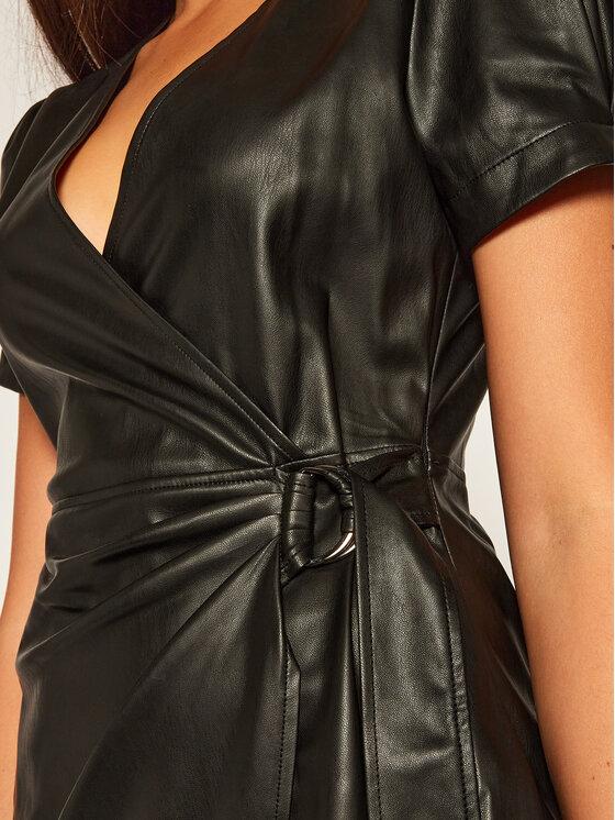 Liu Jo Liu Jo Kožené šaty WF0055 E0392 Černá Regular Fit