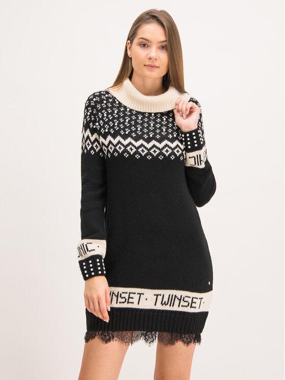 TwinSet TwinSet Úpletové šaty Norvegese 192TP332D Čierna Regular Fit