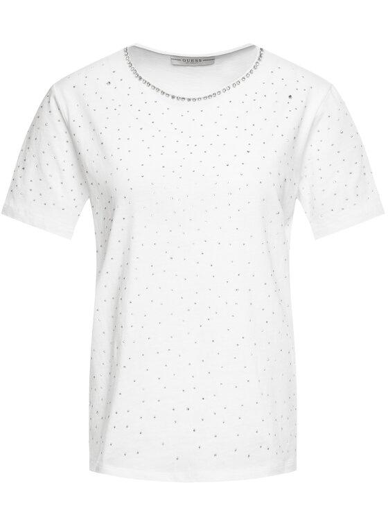 Guess Guess Póló Edwina W01P92 K7DN0 Fehér Slim Fit
